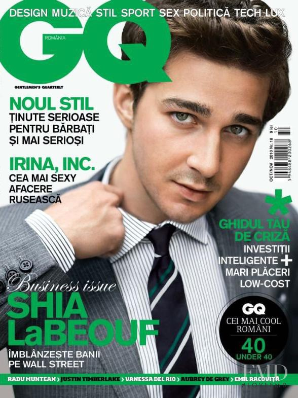 Shia LaBeouf featured on the GQ Romania cover from October 2010