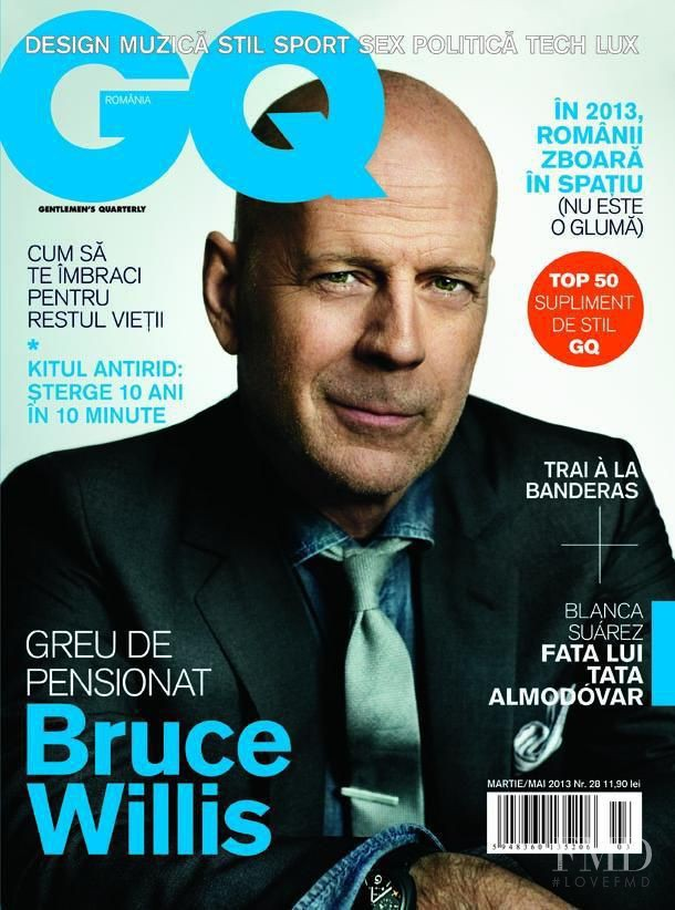 Bruce Willis featured on the GQ Romania cover from March 2013