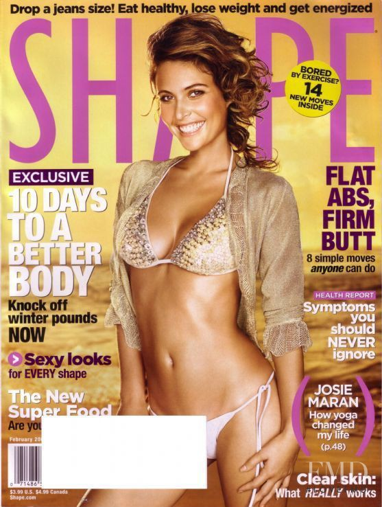 Josie Maran featured on the Shape USA cover from February 2006