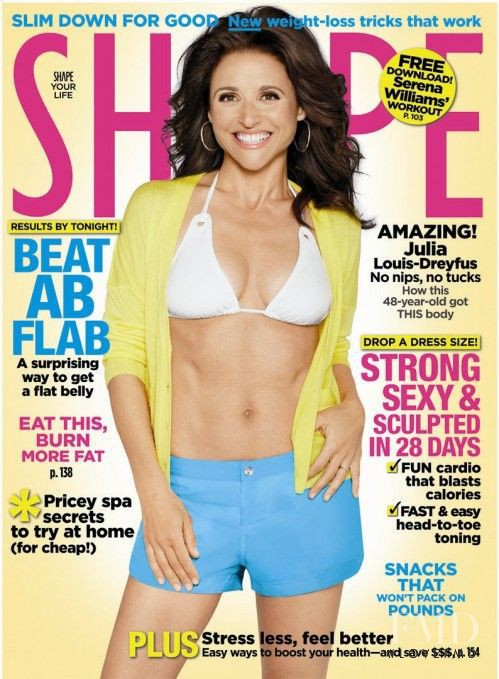 Julia Louis-Dreyfus featured on the Shape USA cover from April 2009