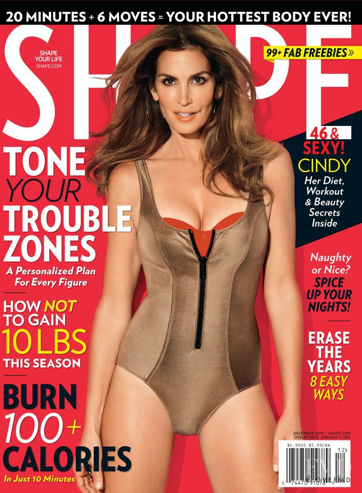Cindy Crawford featured on the Shape USA cover from December 2012