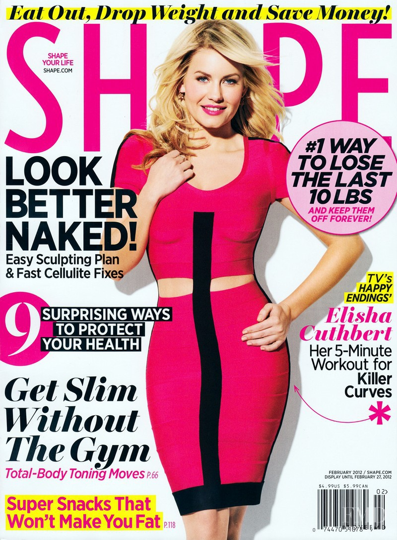 Elisha Cuthbert featured on the Shape USA cover from February 2012