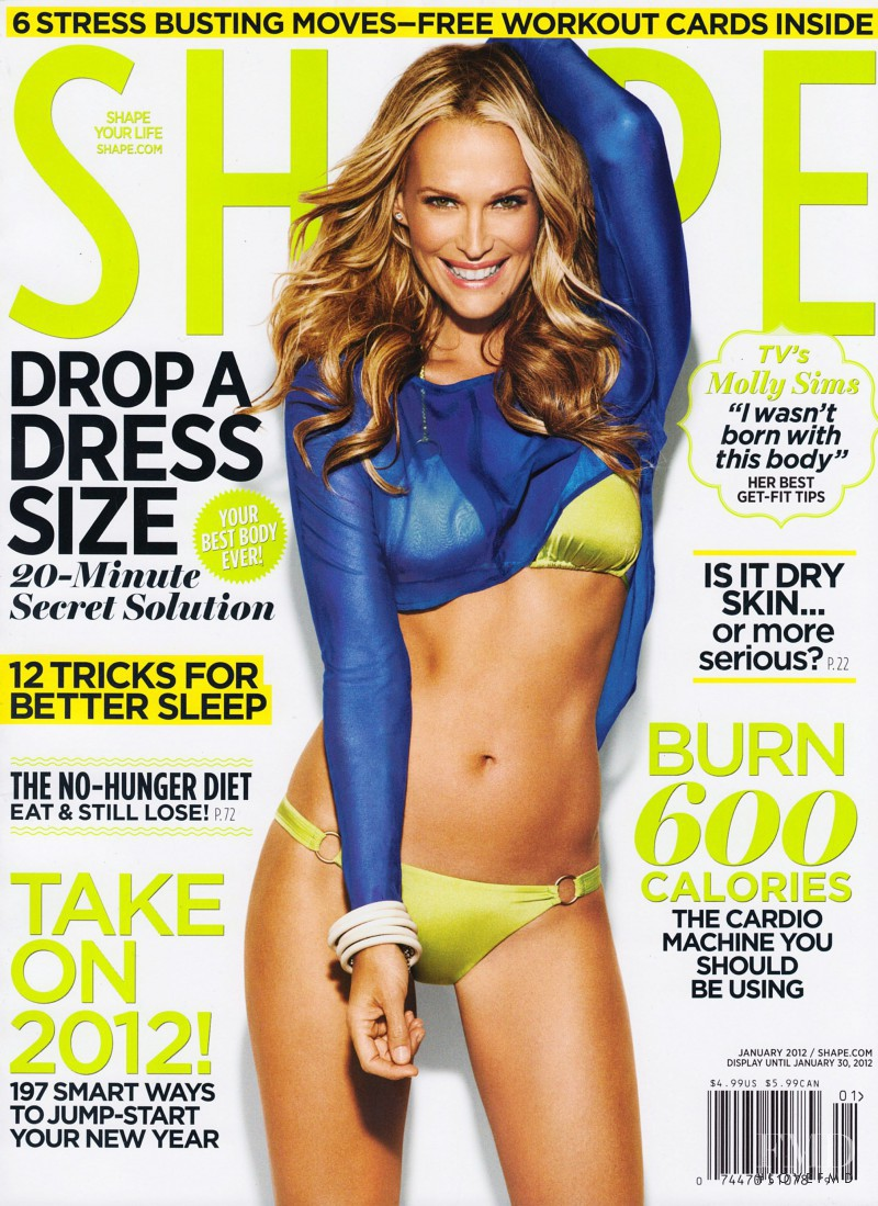 Molly Sims featured on the Shape USA cover from January 2012