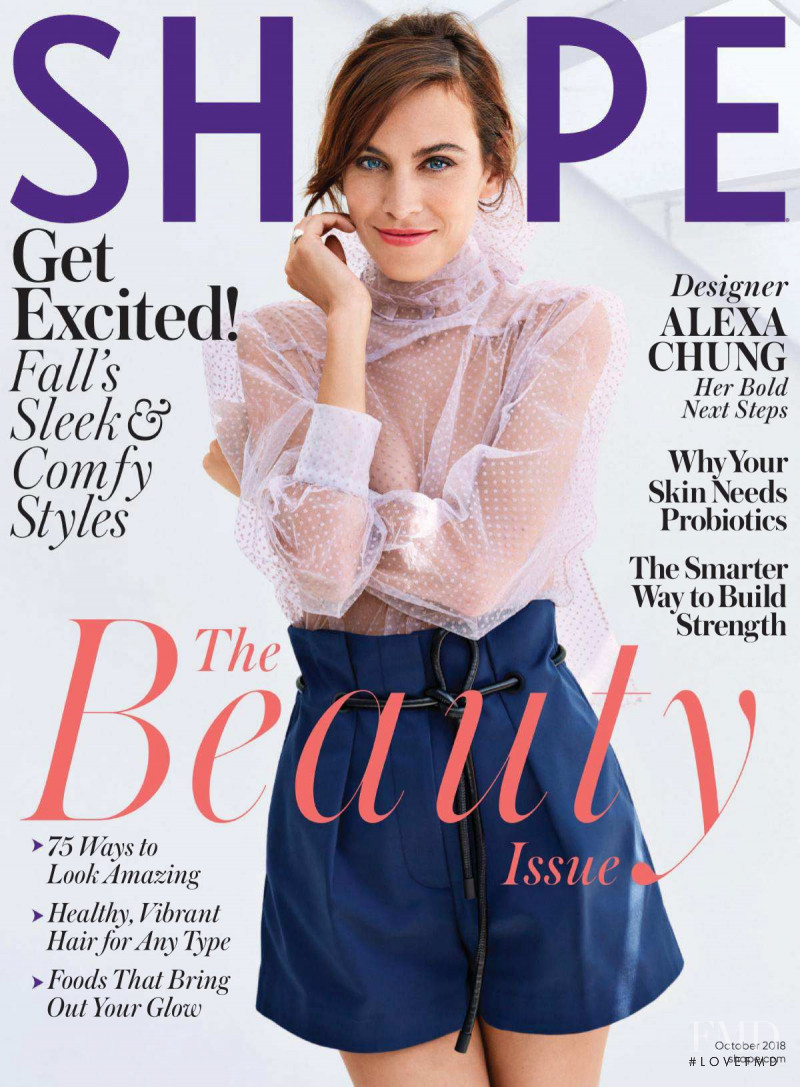 Alexa Chung featured on the Shape USA cover from October 2018