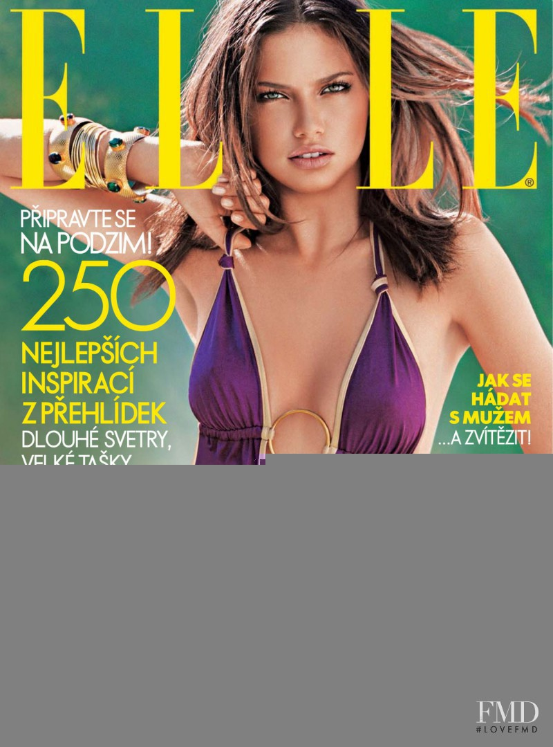 Adriana Lima featured on the Elle Czech cover from August 2006