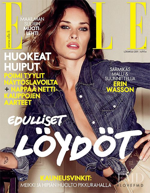 Erin Wasson featured on the Elle Finland cover from October 2011