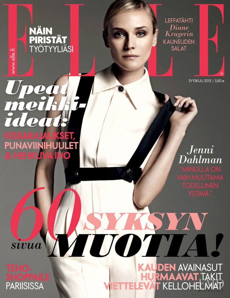 Diane Heidkruger featured on the Elle Finland cover from September 2013