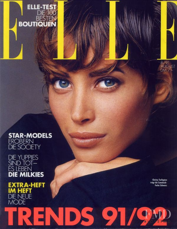 Christy Turlington featured on the Elle Germany cover from August 1991