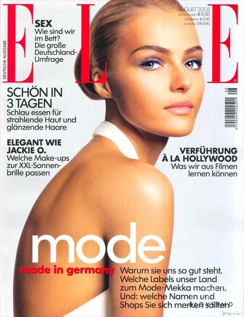 Valentina Zeliaeva featured on the Elle Germany cover from August 2005