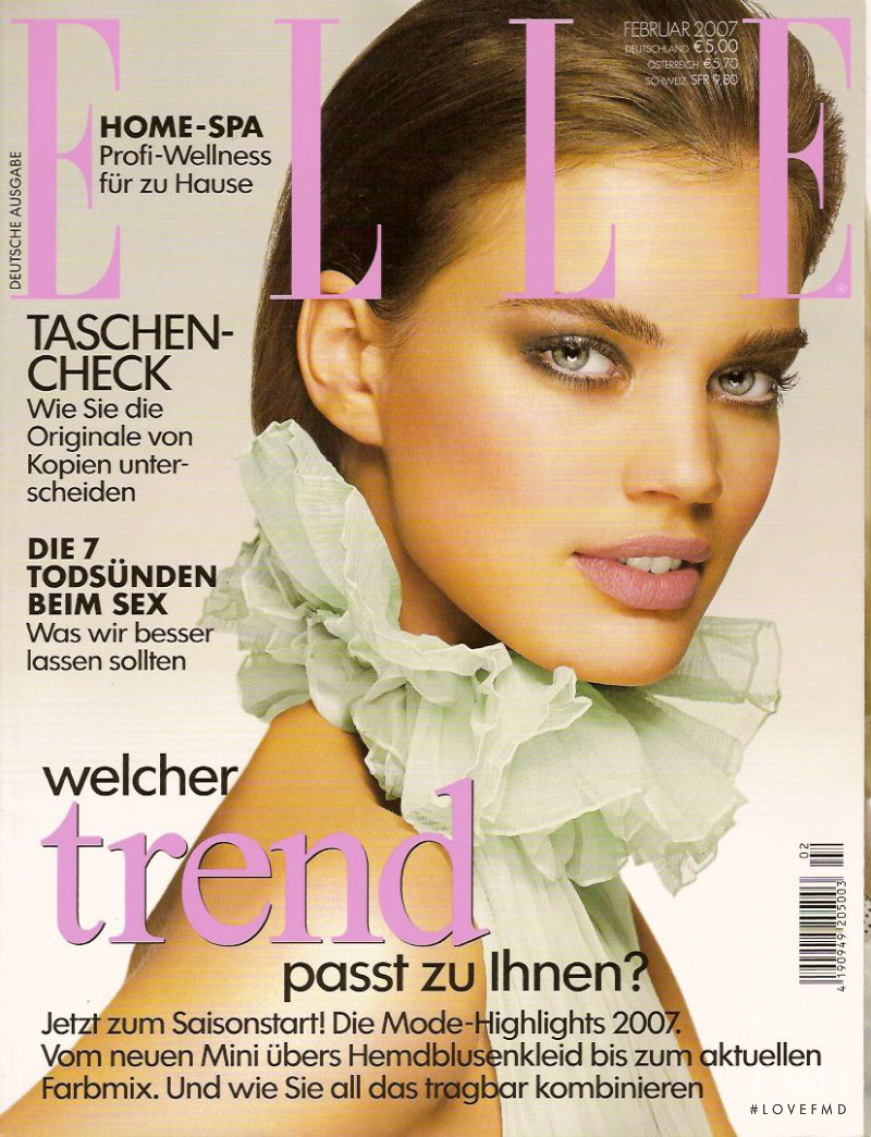 Rianne ten Haken featured on the Elle Germany cover from February 2007