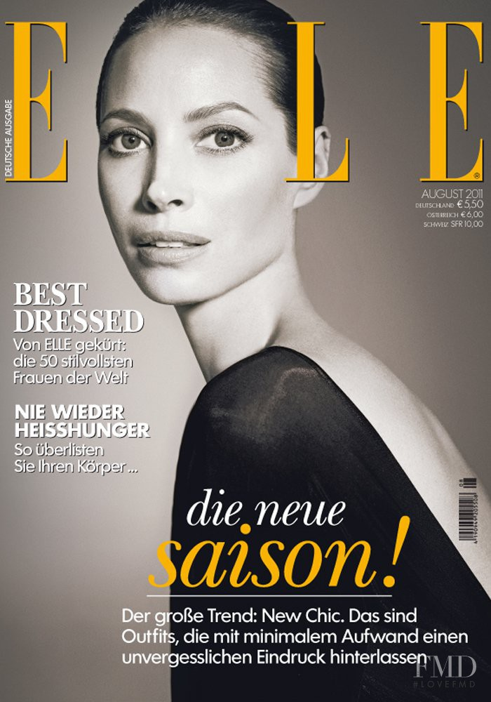 Christy Turlington featured on the Elle Germany cover from August 2011