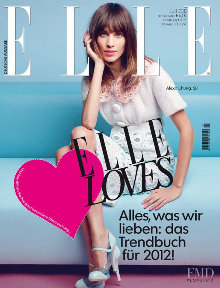 Alexa Chung featured on the Elle Germany cover from July 2012
