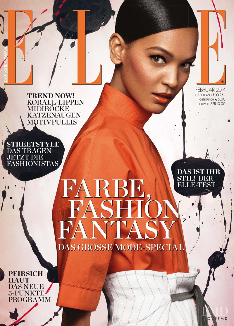 Liya Kebede featured on the Elle Germany cover from February 2014