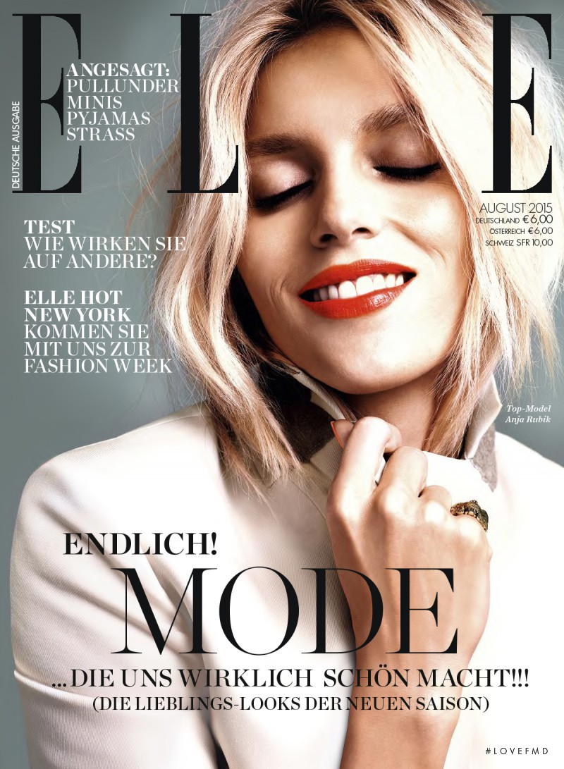 Anja Rubik featured on the Elle Germany cover from August 2015