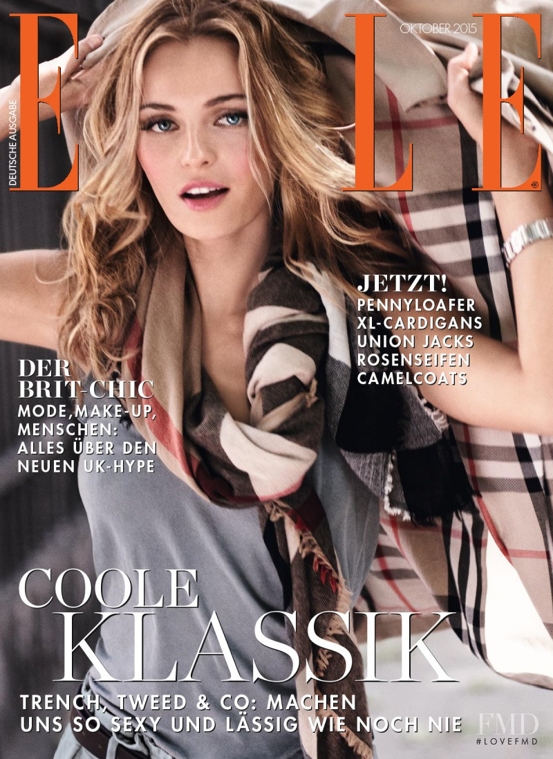 Valentina Zeliaeva featured on the Elle Germany cover from October 2015