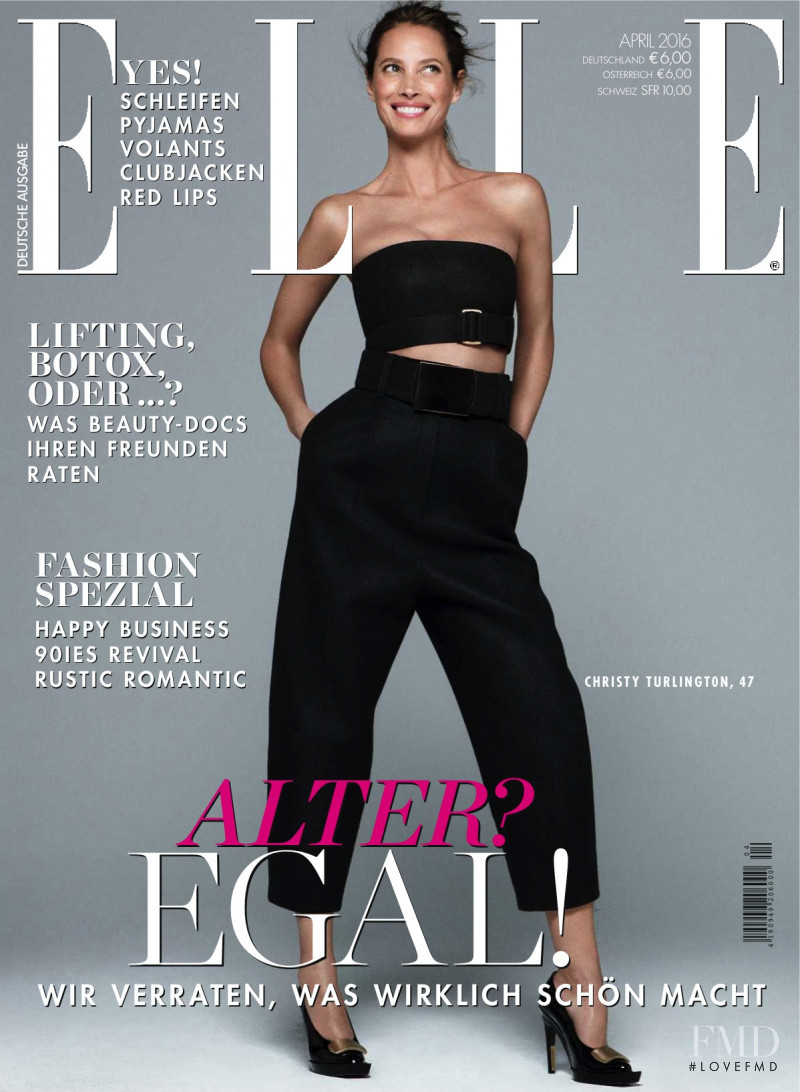 Christy Turlington featured on the Elle Germany cover from April 2016