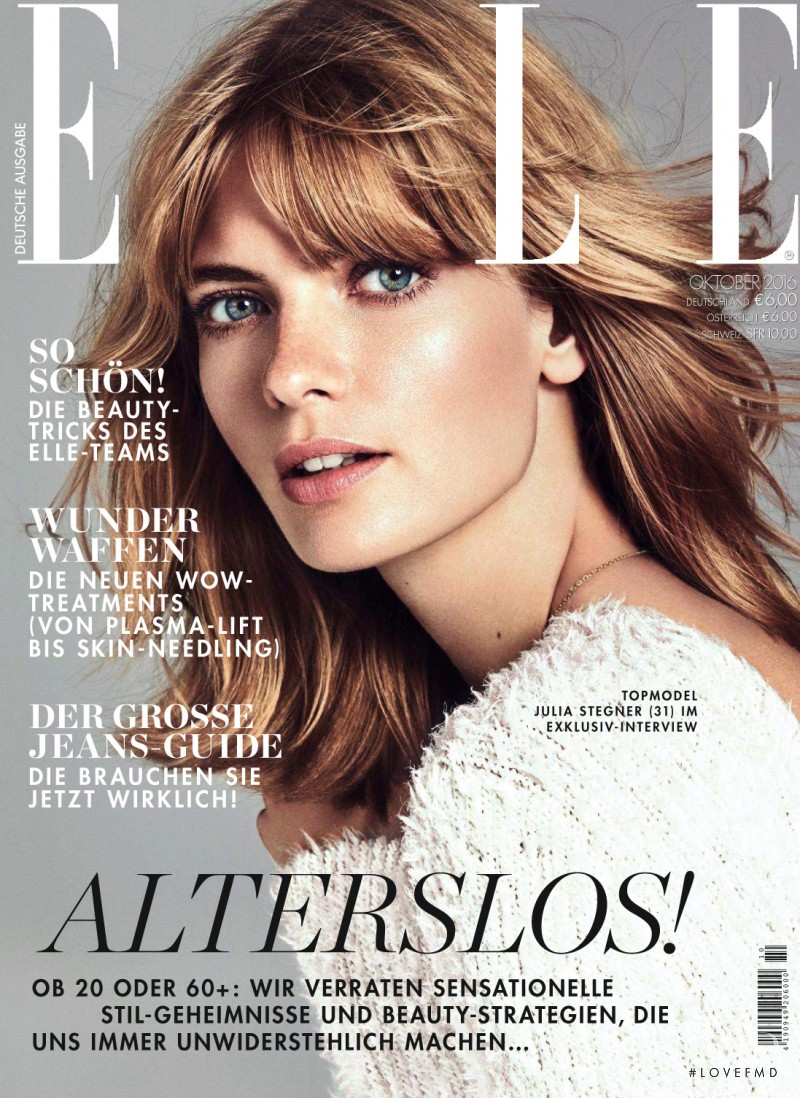 Julia Stegner featured on the Elle Germany cover from October 2016