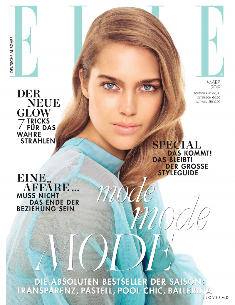 Julia Jamin featured on the Elle Germany cover from March 2018