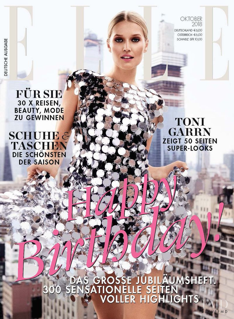 Toni Garrn featured on the Elle Germany cover from October 2018