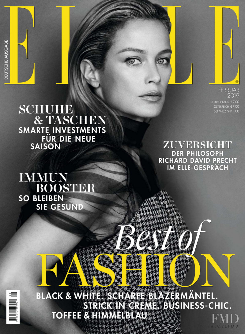 Carolyn Murphy featured on the Elle Germany cover from February 2019
