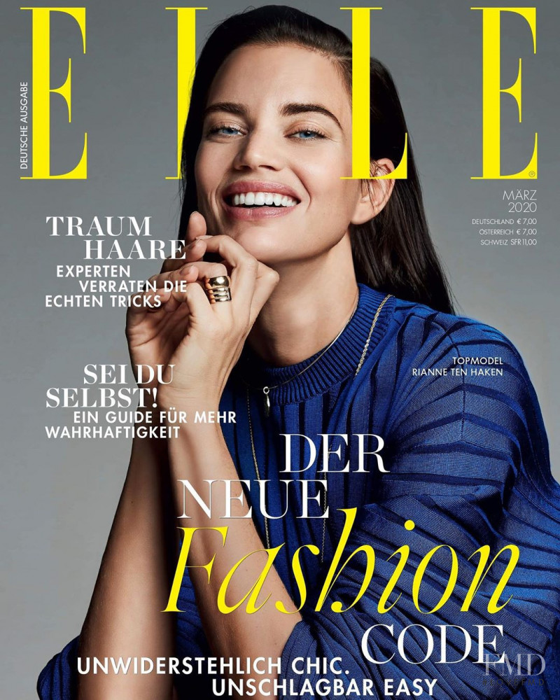 Rianne ten Haken featured on the Elle Germany cover from March 2020