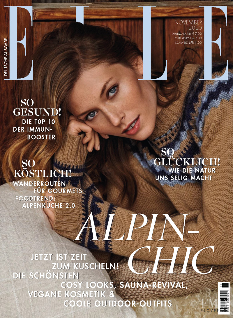 Caroline Lossberg featured on the Elle Germany cover from November 2020
