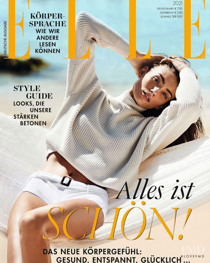 Lorena Rae featured on the Elle Germany cover from April 2021