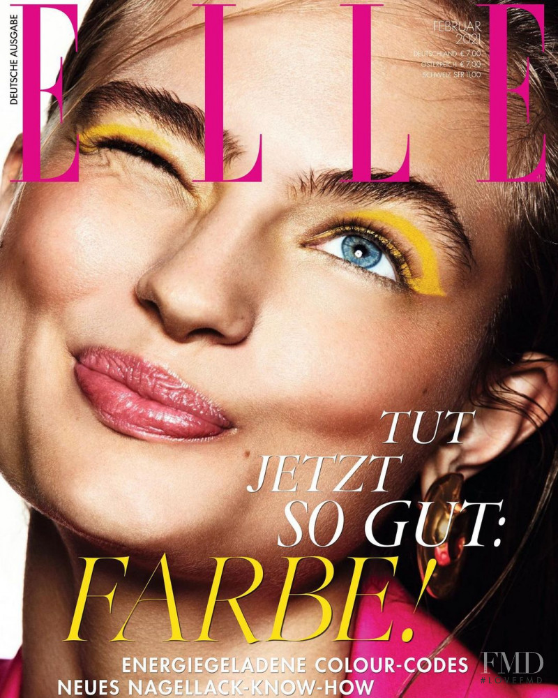 Anna Mila Guyenz featured on the Elle Germany cover from February 2021