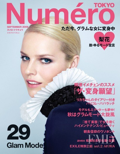 Anja Rubik featured on the Numéro Tokyo cover from September 2009