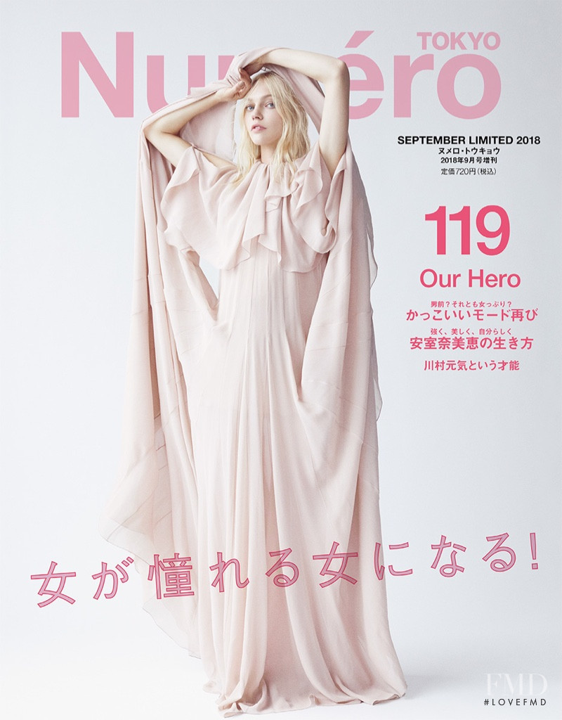 Sasha Pivovarova featured on the Numéro Tokyo cover from September 2018