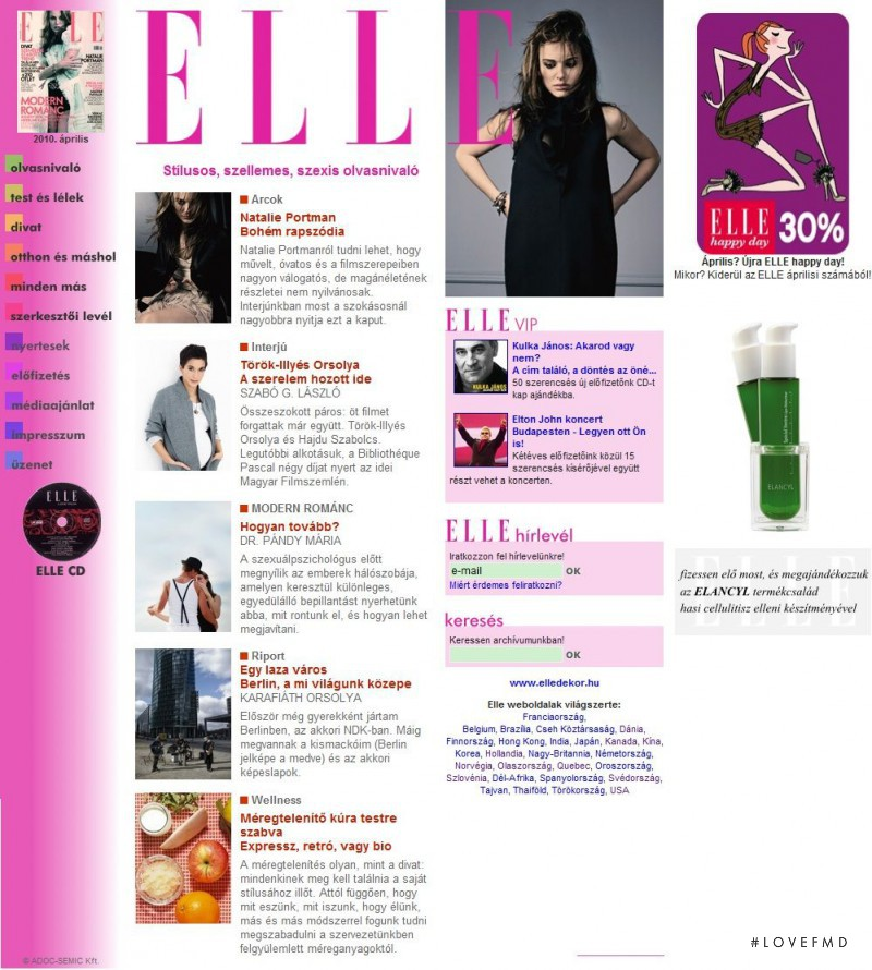 featured on the Elle.hu screen from April 2010