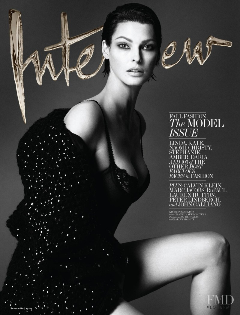 Linda Evangelista featured on the Interview cover from September 2013