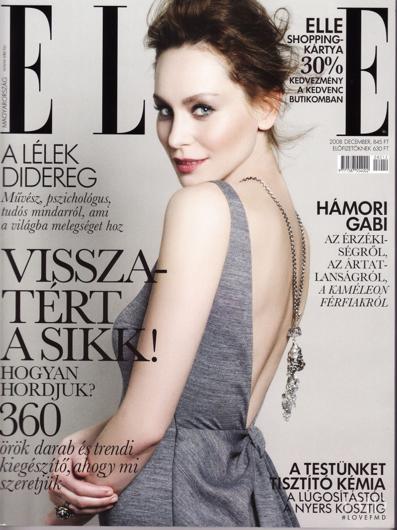 Gabi Hamori featured on the Elle Hungary cover from December 2008
