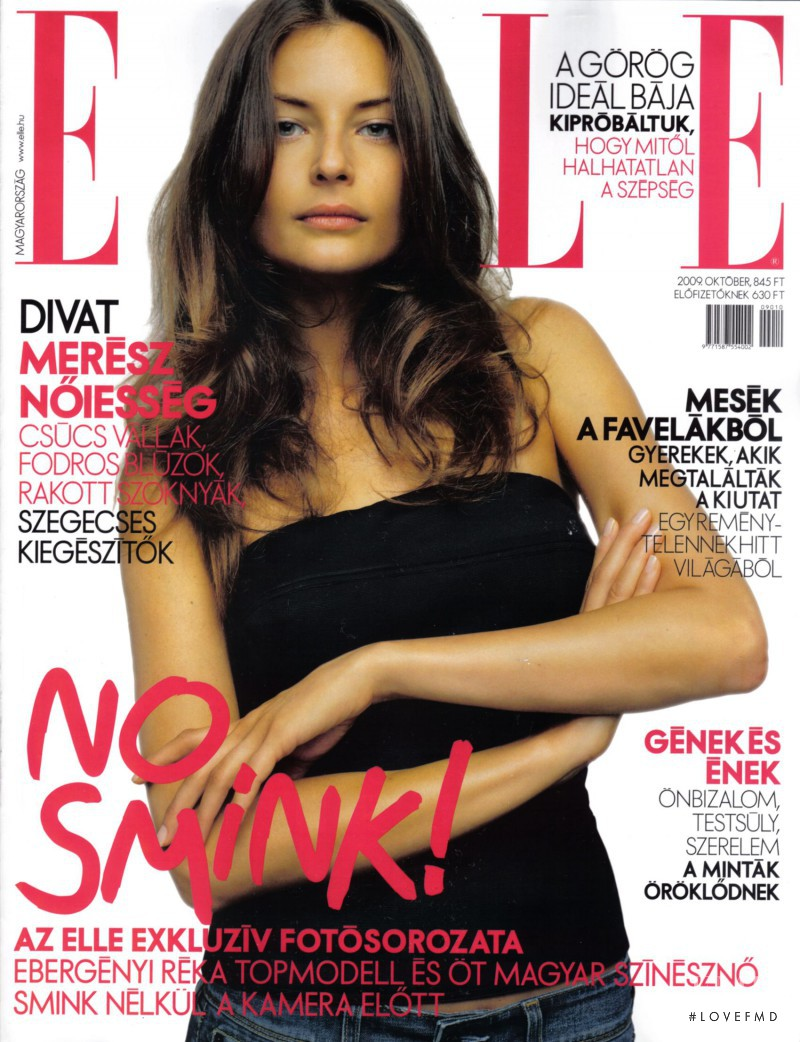 Reka Ebergenyi featured on the Elle Hungary cover from October 2009