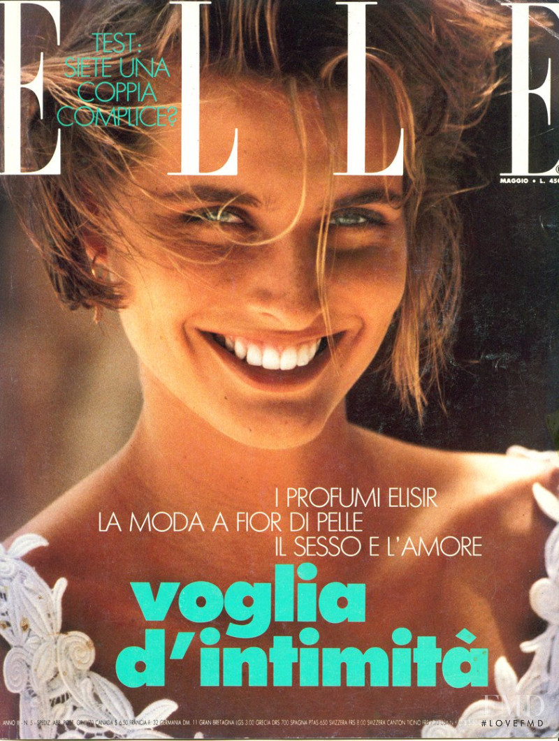 Cathy Fedoruk featured on the Elle Italy cover from May 1990