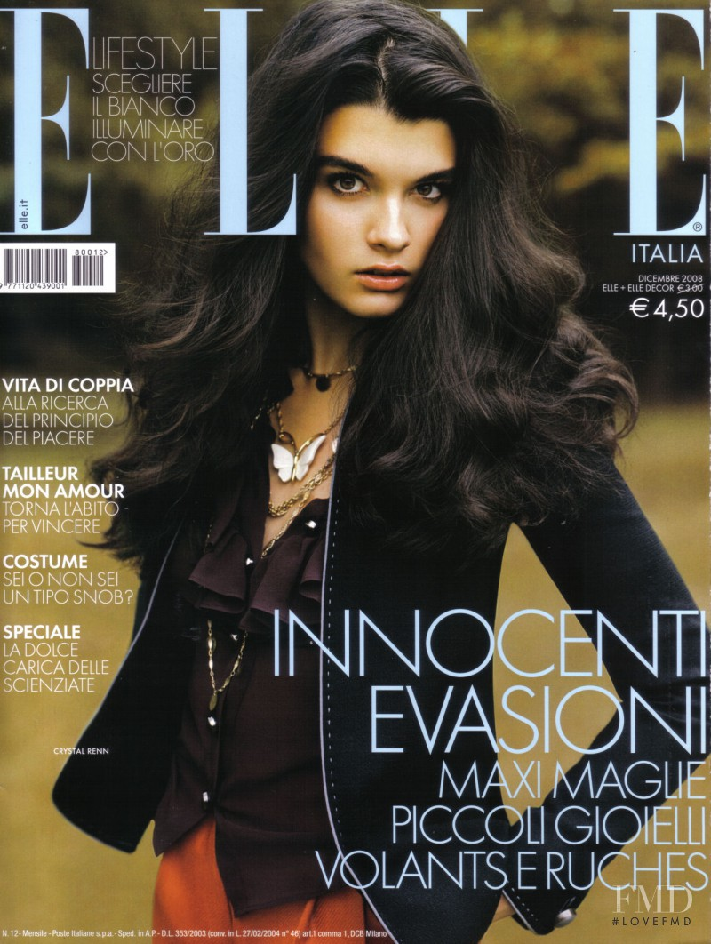Crystal Renn featured on the Elle Italy cover from December 2008