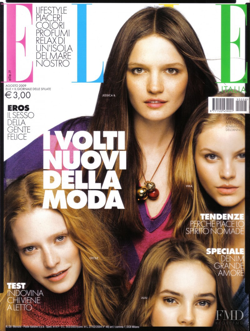 Cecile Sinclair featured on the Elle Italy cover from August 2009