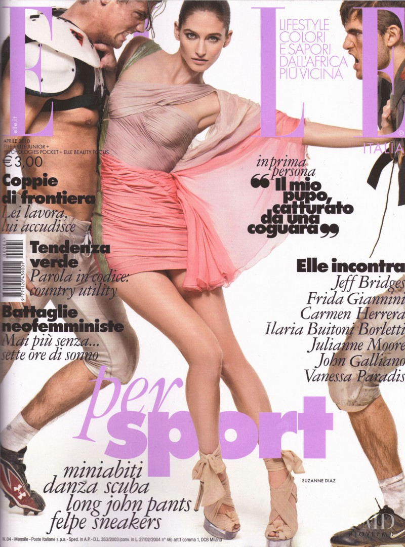 Suzanne Diaz featured on the Elle Italy cover from April 2010