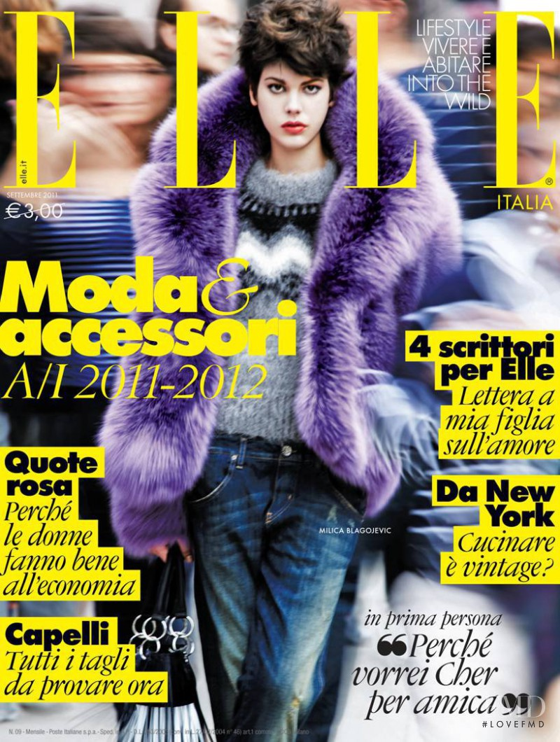 Milica Blagojevic featured on the Elle Italy cover from September 2011