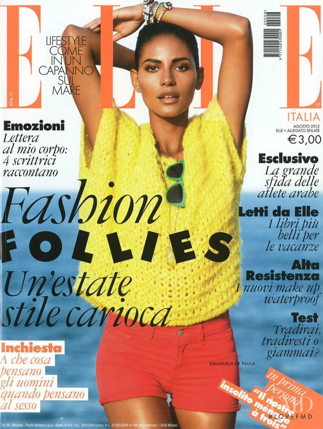 Emanuela de Paula featured on the Elle Italy cover from August 2012