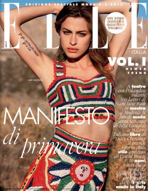 Abby Brothers featured on the Elle Italy cover from March 2013
