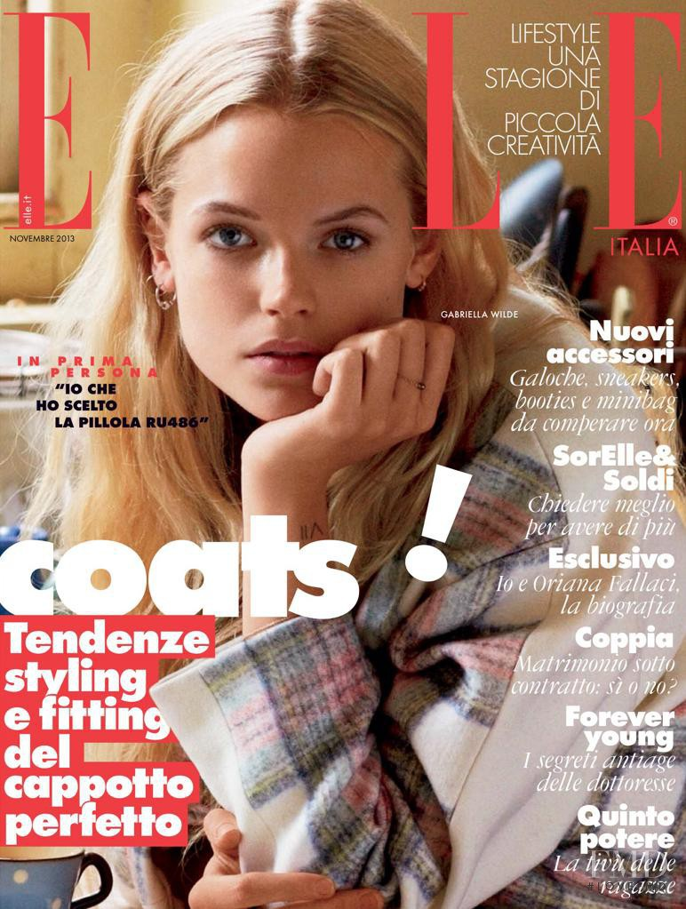 Gabriella Wilde featured on the Elle Italy cover from November 2013