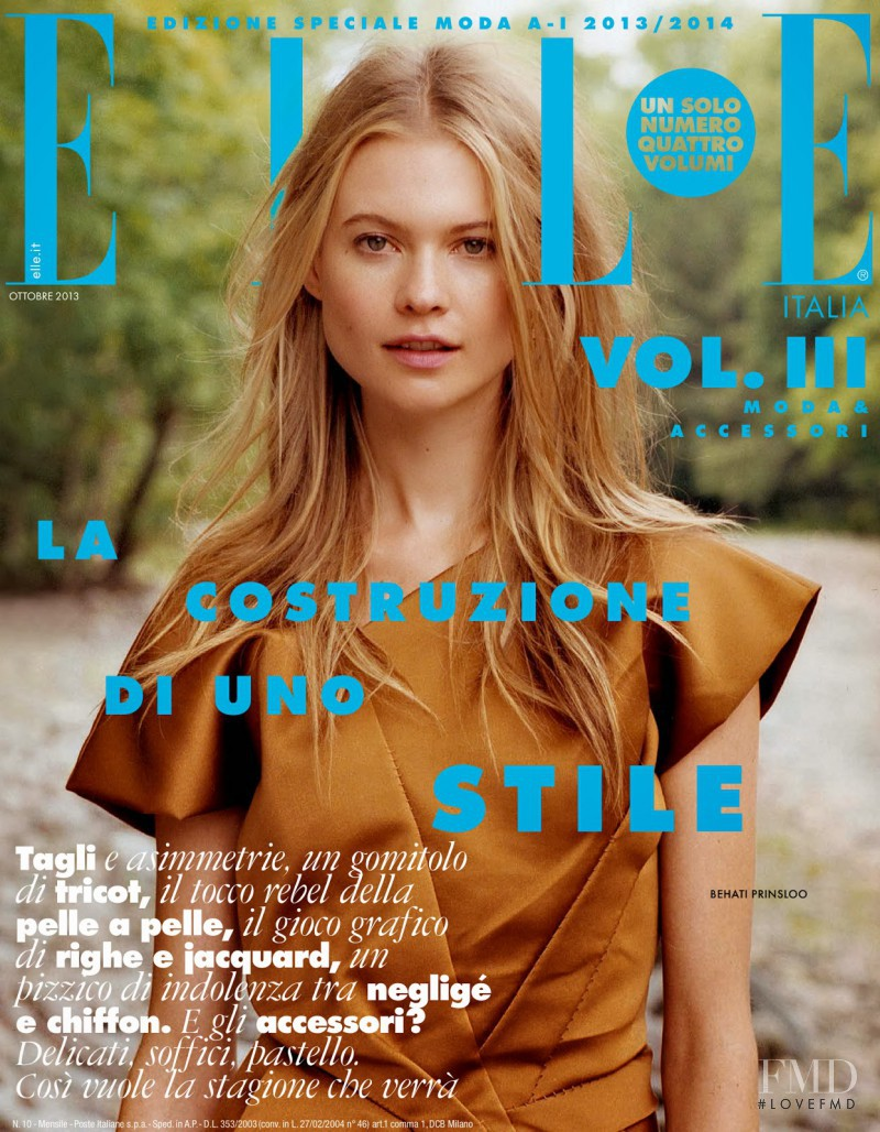 Behati Prinsloo featured on the Elle Italy cover from October 2013