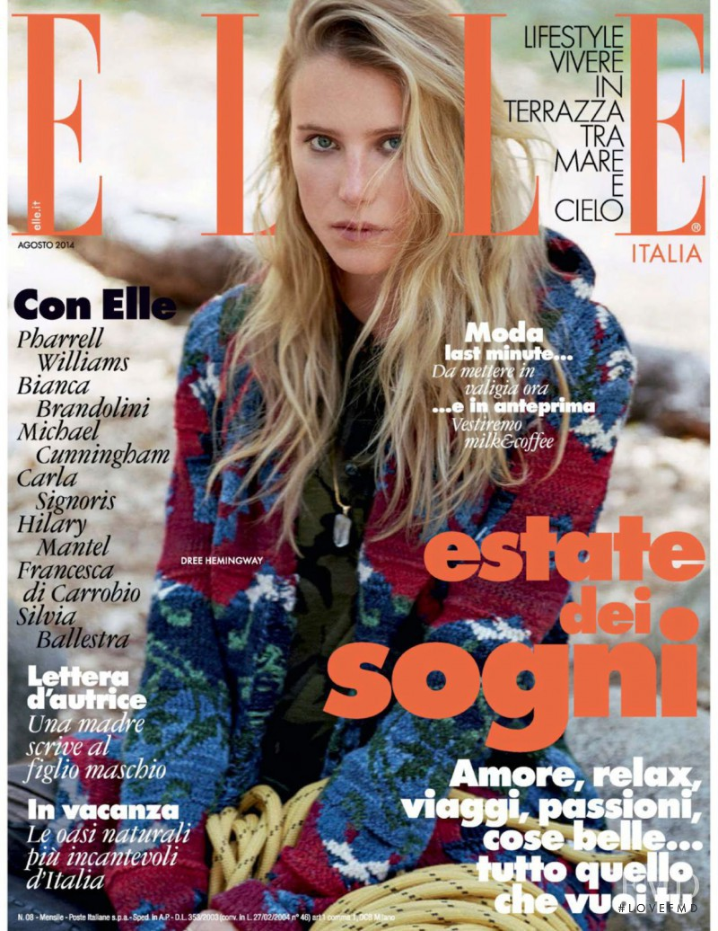 Dree Hemingway featured on the Elle Italy cover from August 2014