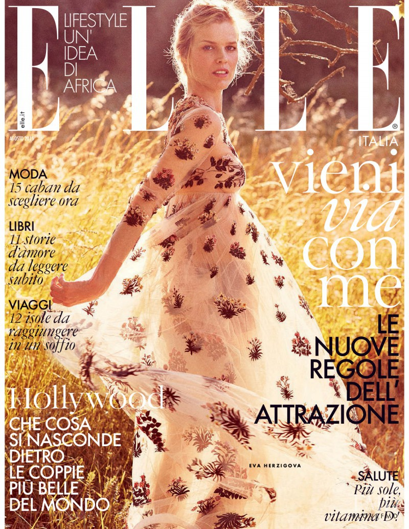 Eva Herzigova featured on the Elle Italy cover from August 2015
