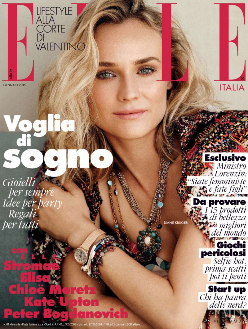 Diane Heidkruger featured on the Elle Italy cover from January 2015