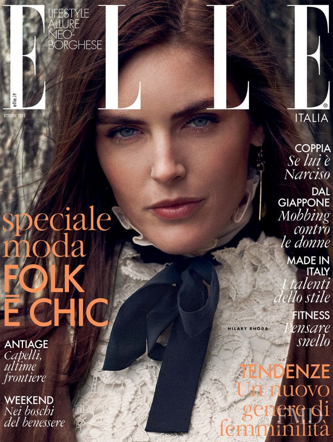 Hilary Rhoda featured on the Elle Italy cover from October 2015
