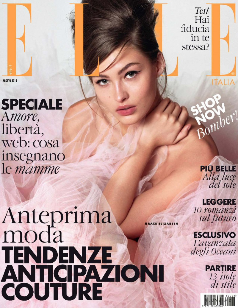 Grace Elizabeth featured on the Elle Italy cover from August 2016