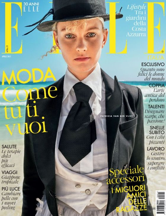 Patricia van der Vliet featured on the Elle Italy cover from April 2017