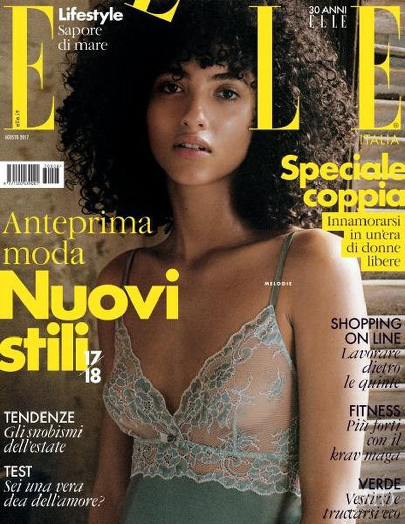 Melodie Vaxelaire featured on the Elle Italy cover from August 2017